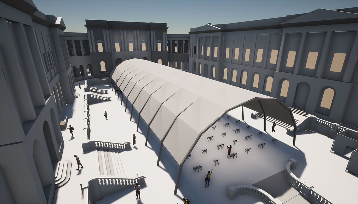 Artist impression of our temporary performance venue at Old College Quad